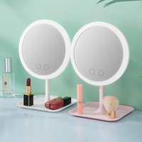 Compact Mirrors 3 5 Light Colors LED Makeup Mirror Dressing Table Beauty Ring Tools For Po Fill Tool