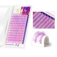 Color 3D Volumen Falso Eyelash Extensión Mezcla Colores Pestañas Individuales Suave Seda Natural Sintéticas Sintéticas Cilios Tales