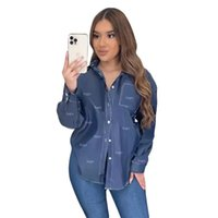 Shirts Europe And The United States Cross-Border Women's Denim Vintage Fashion Trend Letter Printed Shirt Spot