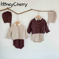 Clothing Sets Fall And Winter Clothes Infant Knit Sweater + Sling Romper Doll Collar Long-sleeved Shirt Little Girl