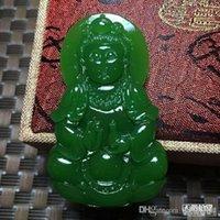 Natural handmade jade guanyin pendant with free ship ping Z10