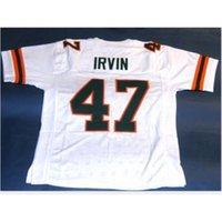 Custom Bay Youth women Vintage #47 MICHAEL IRVIN CUSTOM MIAMI HURRICANES Football Jersey size s-5XL or custom any name or number jersey