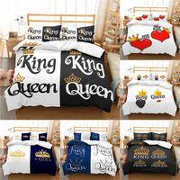 Conjuntos de ropa de cama Inicio Textil Lujo 3D Crown King Reina Reina Imprimir 2/3 unids Cómodo edredón Cubierta de edredón Funda de almohada única EU / EE. UU. / AU Tamaño
