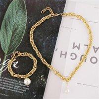 Earrings & Necklace Punk Imitation Baroque Pearl Pendant Irregular For Women Statement Brand Cuban Curb Chunky Choker Bracelets Jewelry