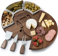 Set da tagliere di formaggio di Shanik aggiornato, tagliere di legno di acacia Set da tavola set di tavoletta perfetta / bordo di carne e utensili set di ciotole di ceramica ciotole di ceramica piastre del server del vino CS28