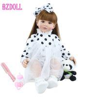 60cm Soft Silicone Reborn Toddler Doll Toys 24inch Lifelike Vinyl Long Hair Princess Babies Girl Dress Up Doll With Panda Q0910