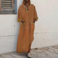 Uomini musulmani islamici kaftano arabo con cappuccio manica lunga stampa patchwork caftano dubai abaya vintage medio oriente jubba thobe abbigliamento etnico