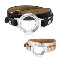 سحر أساور ursjewelry 316l الفولاذ المقاوم للصدأ 25 ملليمتر المغناطيسي المنجد الذاكرة العائمة المناجد مع سوار جلد طبيعي
