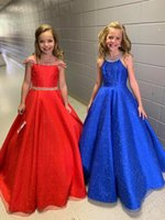 Little Miss Pageant Dress for Teens Juniors Toddlers 2021 Rhinestones Sequins Royal Organza Long Kids Gown Formal Party Beading Halter Neckline rosie Custom-Made