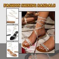 Sandals 2021 Flat Women Summer Fashion Rhinestone Shoes Casual Retro Slippers Crystal Non-slip