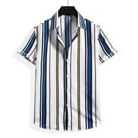 Men's Casual Shirts Men Short Sleeve Shirt Summer Stripe Loose Baggy Hawaii Holiday Beach Tee Tops Buttons Blouse National Style