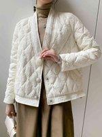 Women's Down & Parkas Jaqueta curta de inverno feminina, jaqueta quente casual branca pato com cote em v, cor sólida, para mulheres, A0VP