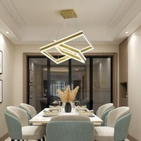 Pendant Lamps Rectangle Square LED Chandelier Living Room Bedroom Dining Study Commercial & Office Lighting
