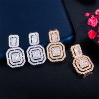 Dynda Żyrandol Delikatny Biały Złoty Kolor Kubiczny Cyrkon Kwadratowy Drop Kolczyki Dla Kobiet Moda Wedding Party Nosić Biżuterię 1095 B3