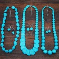Earrings & Necklace Retro Ethnic Vintage Party Wedding Set Drop Women Blue Howlite Stone Turquoises Boho Jewelry Sets