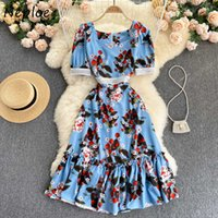 Neploe Field Casual Elegant Vintage Bodycon Vestidos Puff Sleeve High Waist A Line Dress Floral Print Square Collar Female Robe C0607