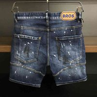 Summer Outdoor denim jeans Women Men casual ink graffiti Street shorts Zipper Pocket Middle Pants