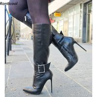 Rontic New Fashion Women Winter Knee Boots Buckle Strap Sexy Stiletto Heels Pointed Toe Black Night Club Shoes US Size 5-15