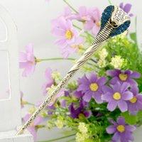 Vintage Snack Hair Pins Rhinestone Stick Clip Crystal Women Metal Accessories Hair Jewelry 1736 Q2
