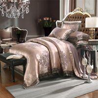 Estilo europeo Jacquard Cubierta de cuatro piezas de cuatro piezas Conjunto de ropa de cama de lino de encaje al por mayor