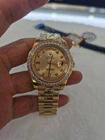 С оригинальными боклуксулярными модами часы высочайшего качества 18K желтый золотой алмазный циферблат безель часы автоматические мужские часы наручные часы