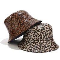 Moda Leopard Imprimir Bucket Chapéu Mulheres Primavera Outono Pu Couro Panamá Panamana Pesca Chapéus Sunshade Caps Liso Streetwear Brim
