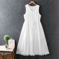 Casual Dresses Lamtrip Unique Fairy White Lace Patchwork Drawstring Cotton Rayon Lolita Princess Sleeveless Beach DM9E