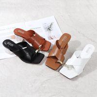 Sandals 5.5CM Crystal Heel Luxury Pu Leather 2021 Summer Big Size 41-42 Outdoor Slipper Ladies Shoe Slides Beach Women Slippers