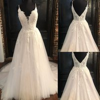A-Line Wedding Dresses V Neck Backless Sweep Train A Line Appliques Lace Garden Beach Boho Country Bridal Gowns robes de mariee