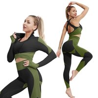 Yoga Outfit 2 3Pcs Suits Women Clothing Fitness Sportswear Set High Waist Tights Pants Sports Bra Zipper Clothes