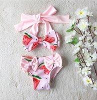 Çocuk Tek Adet Karpuz Baskı Mayo Bebek Kız Mayo 2021 Yaz Çocuklar Halter Yay Tek Parça Bikini Beachwear Mayo