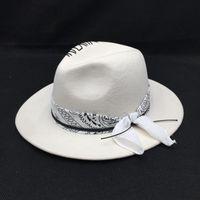 BRIG largo chapéus HuKaili 2021 Chegada inverno branco lã mulher e chapéu masculino os fedores geométricas