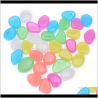 Greenhouses Buildings Patio, Lawn & Drop Delivery 2021 Christmas Home Garden Decor Glow In The Dark Luminous Pebbles Stones 10Cm Glass Vases