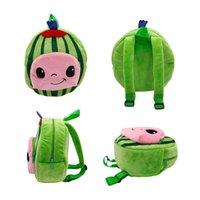 Jojo cocomelon pelúcia brinquedo mochila sacos de escola macio melancia dos desenhos animados crianças mochilas de pelúcia presente de aniversário para crianças