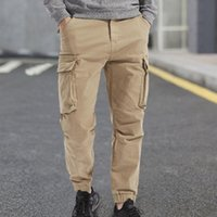 Men's Pants Mens Casual Mid-waist Zip Cargo Relaxed Fit Solid Trousers Sweatpants With Multi-pocket Joggers Long