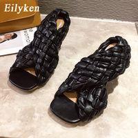 Eilyken مثير رقيقة عالية الكعب أزياء السيدات المصارع الصنادل نسج القدمين مفتوحة الانزلاق على روما الشرائح النساء اللباس أحذية الحجم eiytweoefbgevf