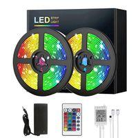 LED tira luzes RGB 5m 10m 15m 20 m 20 m de cor flexível mudança de cor smd 2835 24key iR controlador remoto 100-240V adaptador para casa quarto cozinha cozinha tv de volta não-impermeável