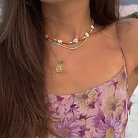 Chains Bohemian Style Colorful Bead Flower Necklace Ins Wind Metal Chain Portrait Tag Female