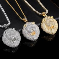 Luxury Designers New Hip Hop Full Diamond Lion Head Pendant Copper Set Zircon Real Gold Electroplating Personalized Men's Necklace Jewelry Xmas Gifts