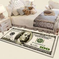 USA Creative Creative 3D Tapis Vintage Monnaie Money 100 Bill Dollar Peinture Tapis de plancher Tapis de Porche Tapis Home Salon Salon Tapis de chevet 210329