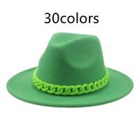 Chain Green Red Hats for Men Jazz Caps Panama Fedoras Bucket Hip Hop Winter Women Felt Hat Sombreros De Fieltro