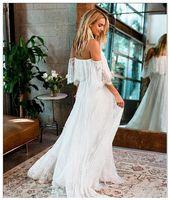 끄기 숄더 보 코 레이스 비치 목적지 웨딩 드레스 보헤미안 플러스 사이즈 저렴한 사진 여성 신부 가운 사용자 정의 만든 드레스