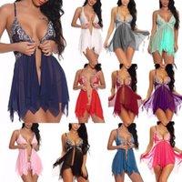 Bras Sets Women Sexy Lingerie Underwear Erotic Dress See-through Lace Pajamas Sleepwear Nightdress + Thong Costumes Sex Dresses