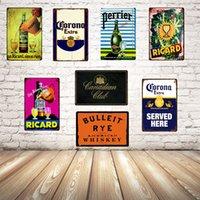 Beige Whisky Boire Ricard Chouffe Duuel Tin Metal Signe Home Decor Bar Art mural Peinture 20 * 30 cm Taille JT-56