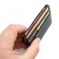 New 100% Sheepskin Genuine Leather Credit Case Mini ID Holder Small Purse For Man Slim Men's Wallet Cardholder