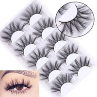 False Eyelashes SKONHED 5 Pairs Woman Fluffy Handmade Natural 3D Faux Mink Hair Crisscross Eye Lash Extension