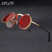 Homens Quadro Metais Vintage Círculo Redondo Para Flip Marca Oculos Splov Designer Retro Steampunk Sunglasses Vidro Verjp Qlkgk