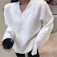 Новейшая мода стиль осенью / зима 2021 года V-образным вырезом пуловер свитер, свободный и удобный свитер для женщин, без почтовой техники S / XL
