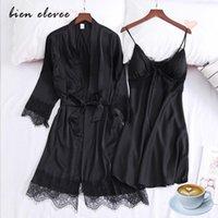 Satin Lace Pajamas Sets Silk Robe Sleeping Dress Suit Women Summer Night Gown Sexy Nightie Wear Intimate Lingeries Black 's Sleepw Women's S