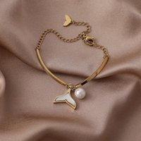 Charm Bracelets U-Magical Korean Fashion Trumpet Tail For Women Gold Color Metal Imitation Pearl Chain Necklace Jewellery